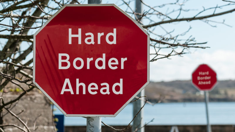 stop sign border ireland northern ireland republic brexit reunification european union europe