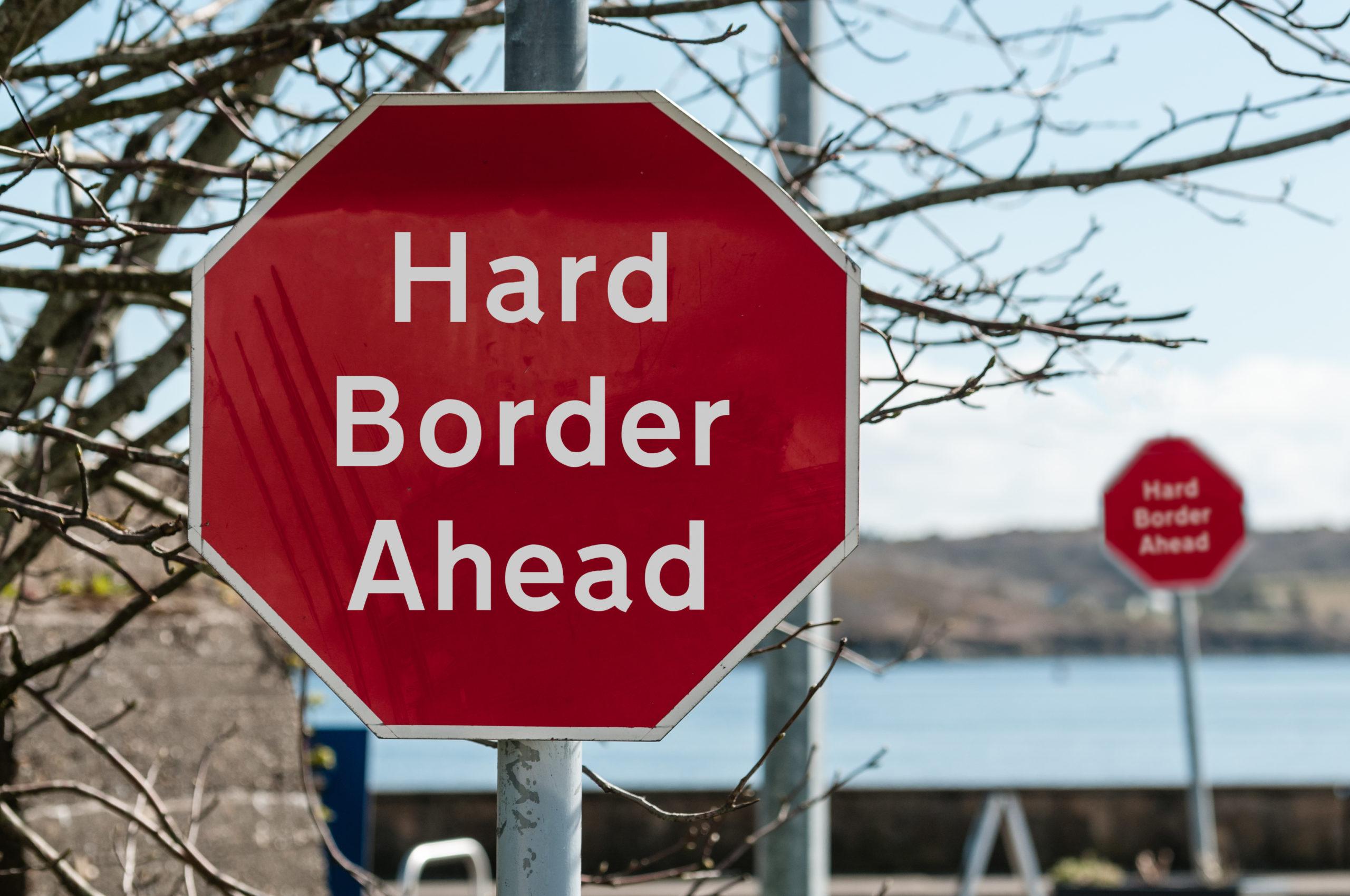 stop sign border ireland northern ireland republic brexit reunification european union europe